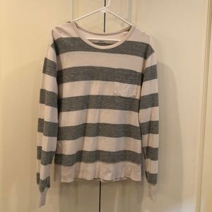 J. Crew White and Gray Striped Long Sleeve